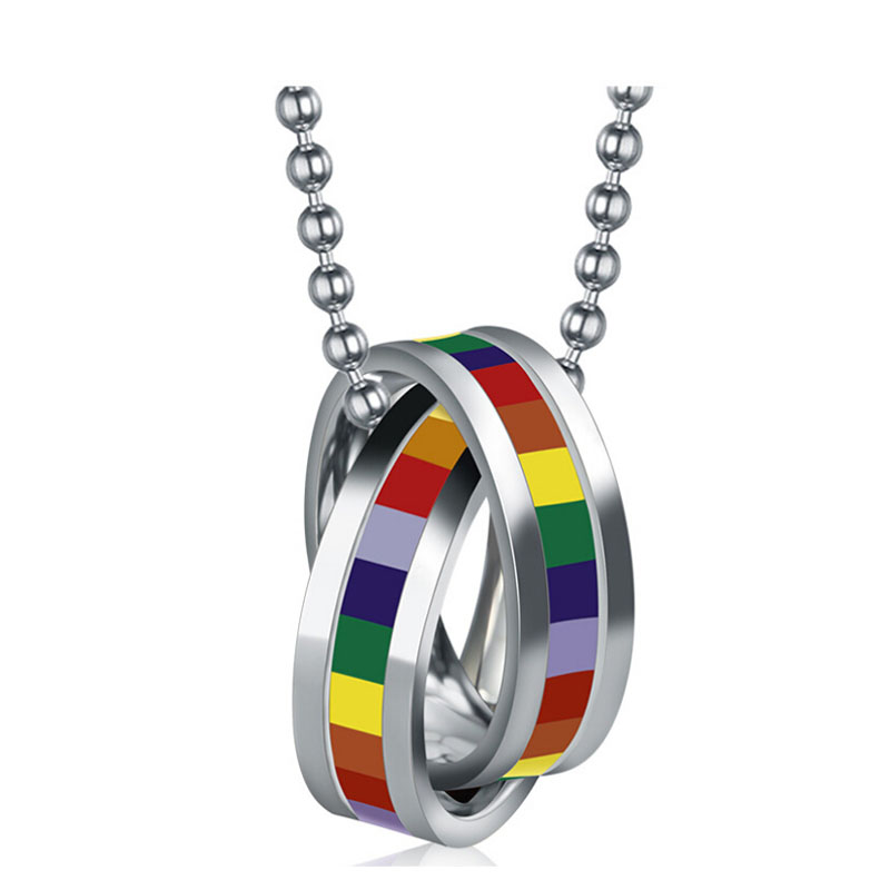 Hot sale stainless steel necklace pendant double loop design for men and women rainbow jewelry
