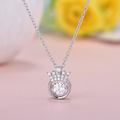 Real 925 sterling silver bling move zircon Crown necklaces ...