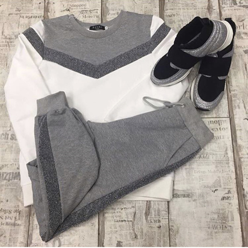 נשים אימוניות של אביב סתיו ארוך שרוול סוודר סווטשירט שתי חתיכה להגדיר אופנה סוג V תפרים ספורט חליפת נקבה