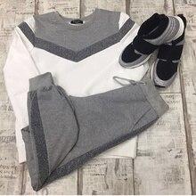 Frauen trainingsanzüge frühling herbst langarm pullover Sweatshirt zwei Stück set mode typ V Nähte Sporting anzug weibliche