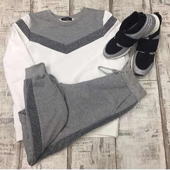 Women's tracksuits spring autumn long sleeve pullover Sweatshirt two Piece set fashion type V Stitching Sporting suit female - DISCOUNT ITEM  44% OFF All Category