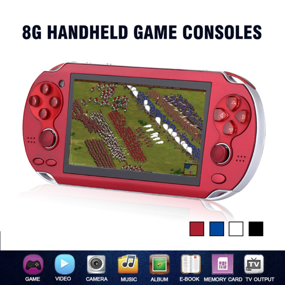 Handheld Game Player 8G 4.3 Inch Portable Video Game Console Mini Video Gaming Players Support TV Out Camera E-book Music