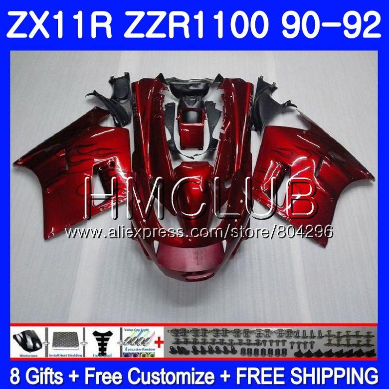 Corps Pour KAWASAKI NINJA ZX-11R ZZR 1100 ZX11R 90 91 92 13HM. 9 ZZR1100 ZX11 R ZX-11 R ZX 11R 1990 1991 1992 Vin rouge carénage