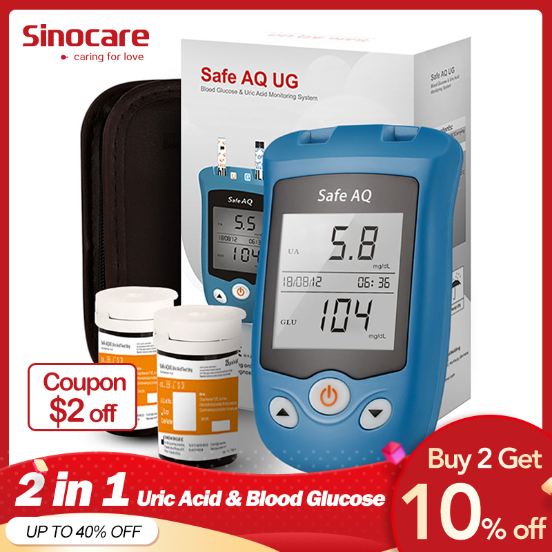 Sinocare Safe AQ UG Blood Glucose Meter Uric Acid Test Kit Glucose Strips Uric Strips for Diabetes Gout Pregnant Glucometer in Blood Glucose from Beauty Health