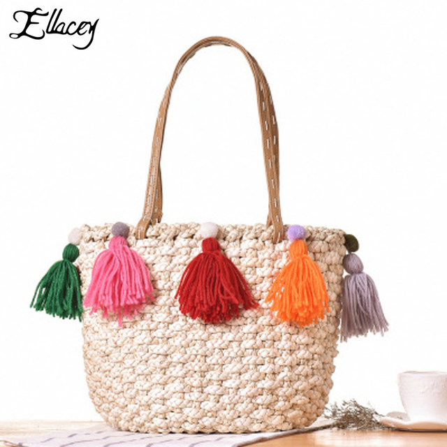 New 2018 Summer String Handmade Bags Beach Knitting Straw Bags Large  Capacity Tassel Handbags Women Shoulder 4bdc42377f