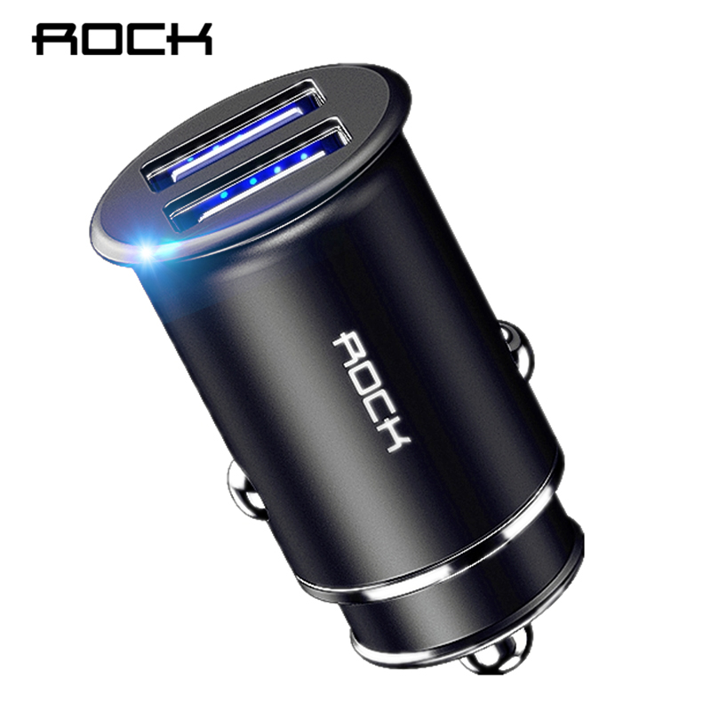 ROCK Mini Dual USB Car Charger 4.8A Metal Car-Charger Quick Charging Auto Charge 2 Port 24W for iPhone X 8 7 6 Samsung Xiaomi