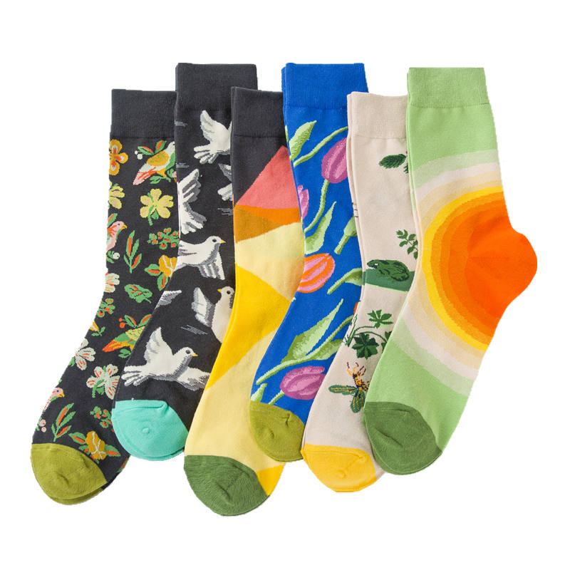 Colorful Mens Cotton Funny Socks Fashion Happy Sock Couple Flower And Bird Sketching Series Male Socks Youth Skateboard Sock Beautiful And Charming Underwear & Sleepwears