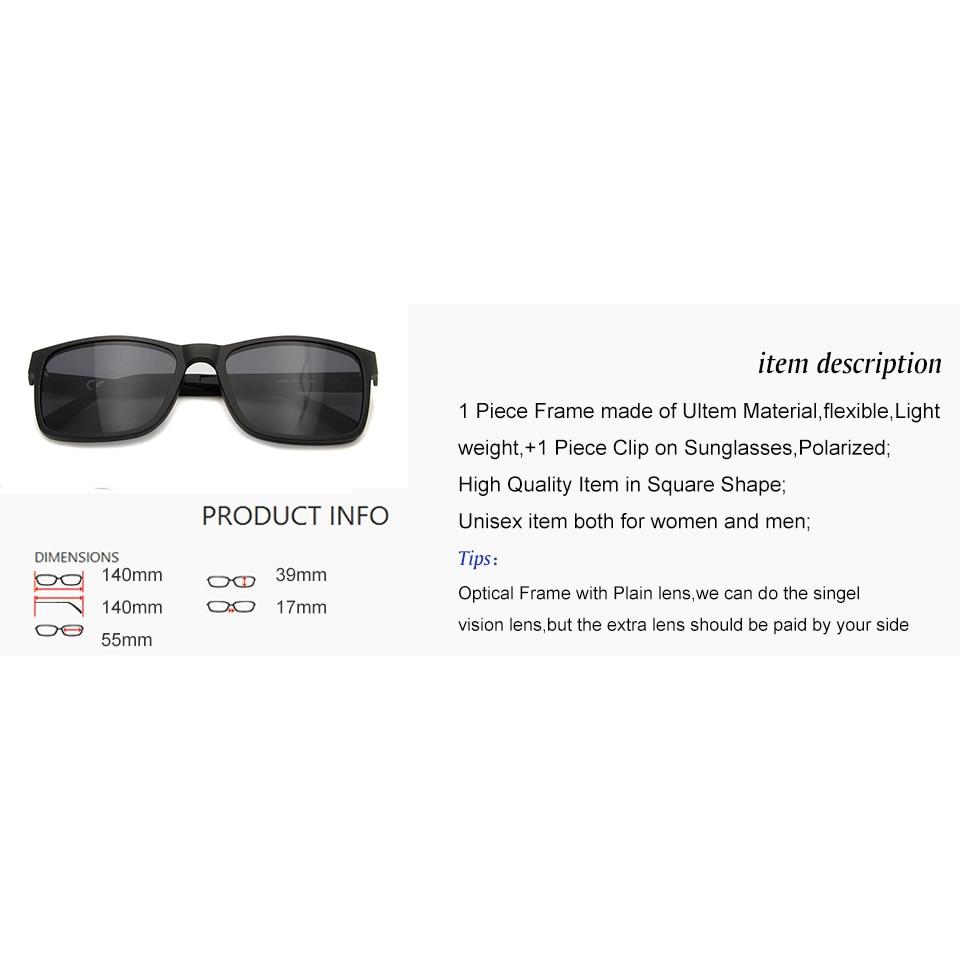 3a5cdf9f550 New Eyeglass Magnetic Clip on Sunglasses Polarized Lens Ultem Eyewear  Frames Women Men Unisex in Clear Fashion Lens UV400 Shadow-in Eyewear  Frames from ...