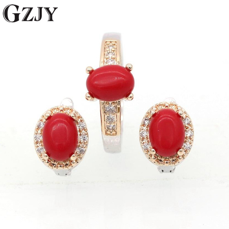 GZJY Fashion Charming Oval Red Coral AAA Zircon Double Gold Color Earrings Ring Set For Women Wedding Party Jewelry J09-1 charming solid color footprint cuff ring for women
