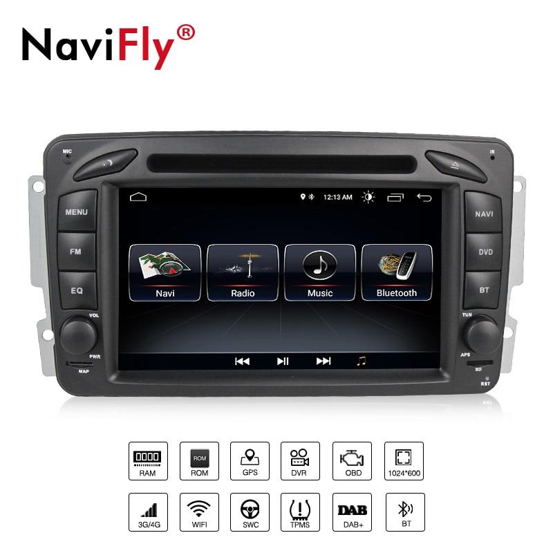 De gros! lecteur radio de voiture Navifly android8.1 pour Mercedes Benz W209 W203 W168 ML W163 Viano W639 Vito wifi BT RDS FM