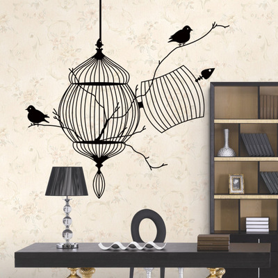 High Quality Abstract Birdcage Birds Vinyl Wall Stickers 3D Wall Art ...