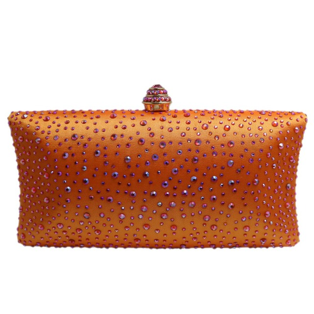 Hot Orange Crystal Clutch Evening Bags For Womens Party And Box