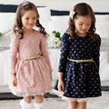 Korea Girls Dot Dress Belt Child Girls Elsa Long Sleeve Korea Princess Party Sweet Kids Girls Children Dress #D