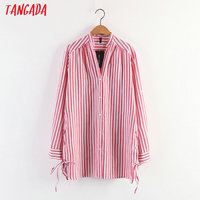 Tangada Fashion Women Striped Long Blouse Shirts Side Bow Tie V-Neck Long Sleeve Red Shirt Casual Brand Women Clothing XL105