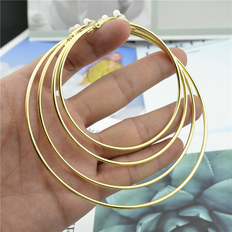 Big small circle gold silver Round Clip on the ear Earrings hoops for women with cushion pad without piercing Fashion jewelry золотые серьги по уху