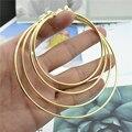 Gran pequeño círculo de oro redondo de plata Clip en la oreja, pendientes de aros para las mujeres con cojín sin piercing de moda joyería