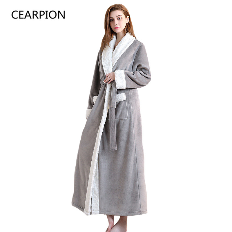cearpion winter flannel sleepwear warm thick robe ankle. Black Bedroom Furniture Sets. Home Design Ideas