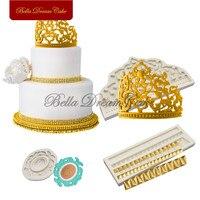 크라운 실리콘 금형 케이크 테두리 금형 퐁당 sugarcraft 금형 웨딩 장식 케이크 장식 도구 주방 액세서리
