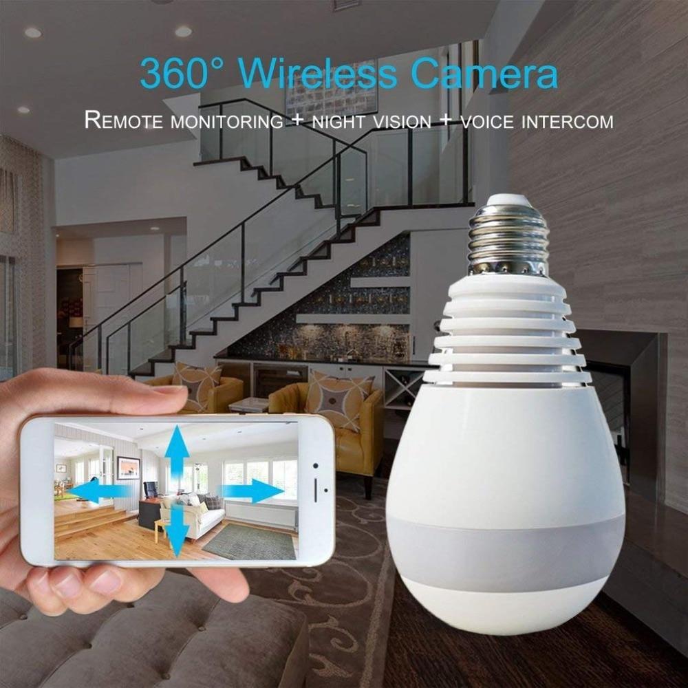 Wireless 360 Degree Video Camera WIFI 1 3MP Light Bulb Kamera Night Vision For Home Security 360 FishEye Panoramic Video Cameras in 360° Video Camera from Consumer Electronics