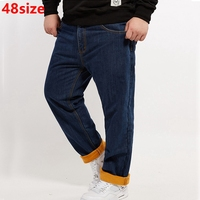 Big Size Jeans Male Plus Size Velvet Thick High Waist Stretch Large Winter Loose Velvet Thick