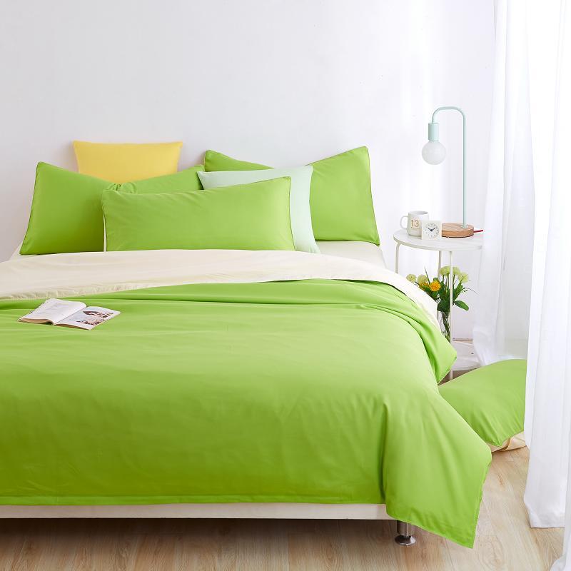 Minimalist Yatak Setleri Apple yeşil Düver Yorgan Kapak Çarşaf Bej Yastık Yumuşak ve Rahat Kral Kraliçe Tam Ikiz