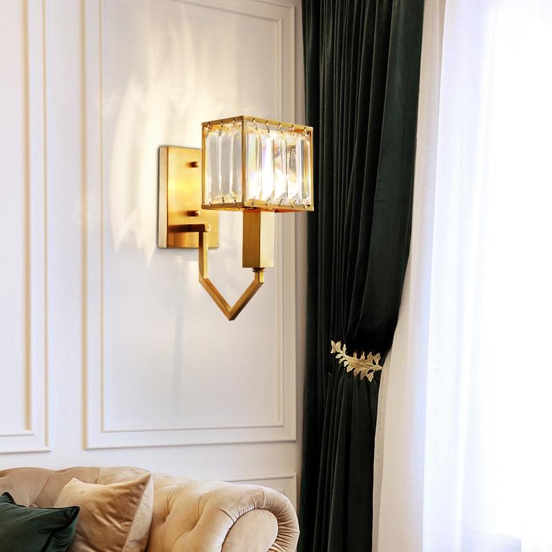 Abajur European Modern Copper Crystal Art Wall Lamp for Living Room Corridor Bedroom Aisle Balcony LED Wall Light Fixtures