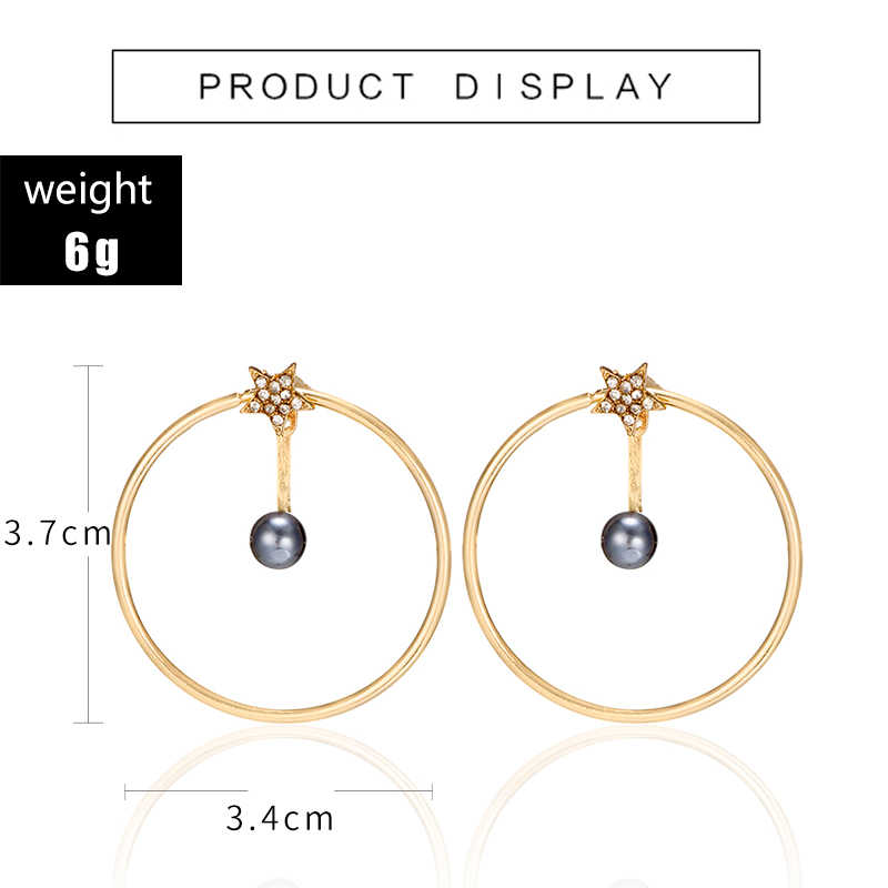 docona Tiny Gray Imitation Pearls Crystal Star Drop Dangle Earrings for Women Girl Hollow Round Push Back Wedding Earring 6990