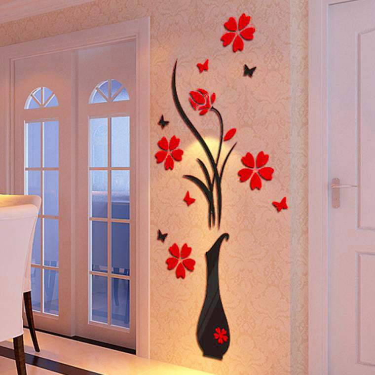 3D Wall Stickers Vase Flowering tree Arcylic Crystal DIY Decal For Kids Room Home Office Party Furniture Walls Decor F507