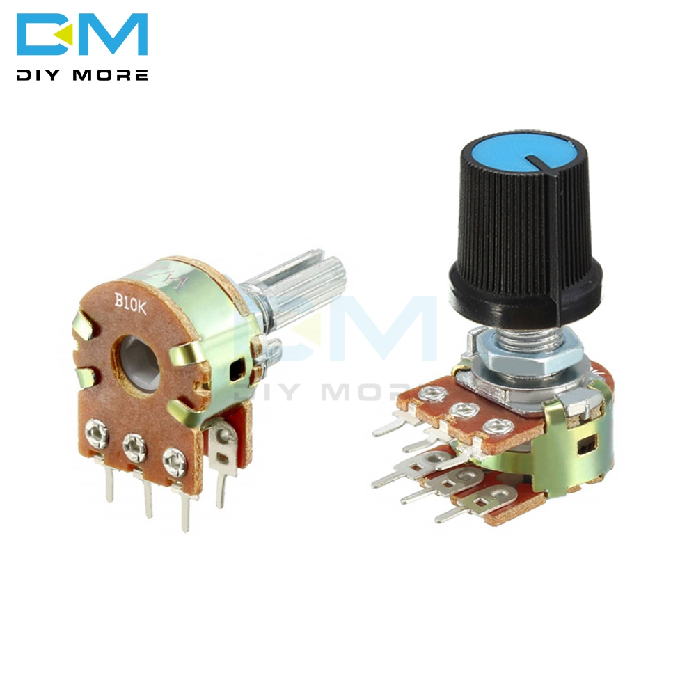 5PCS Lot B1K B2K B5K B10K B20K B50K B100K B250K B500K B1M Potentiometer Resistor Linear Taper Rotary Cap Knob Ohm Electronic Diy