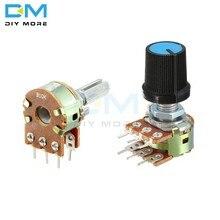 5 peças lote b1k b2k b5k b10k b20k b50k b100k b250k b500k b1m potenciômetro resistor linear atarraxamento botão de tampão rotativo ohm eletrônico diy