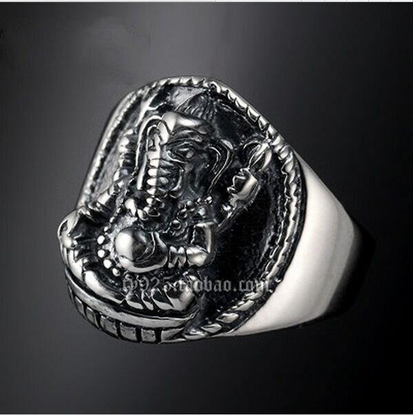 Bague en argent éléphant oui pinky anneau thai argent femmes anneau garçons de ceinture