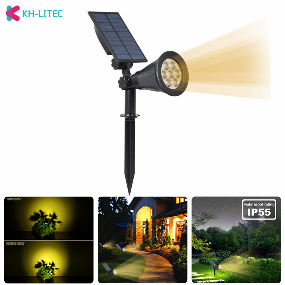KH-LITEC LED Solar Spotlights 7 LED Garden Solar Lights Outdoor Lighting Path Lights Landscape Light for Patio Lawn Yard Garden