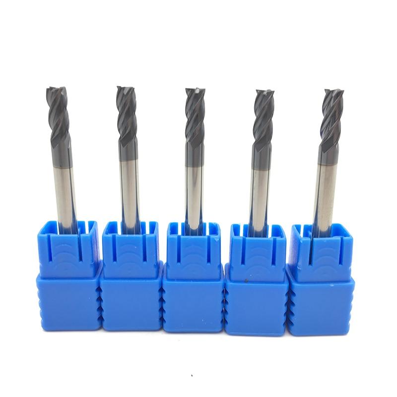 5PCS HRC50 4Flute 4mm Solid Carbide Endmill 50mm 75mm 100mm Long Standard Length Side Milling Slotting Profiling Face Mill