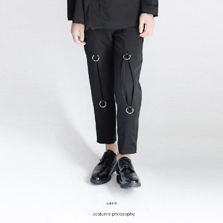 Pantalon décontracté homme design Original: bague en métal 2018 décoration 9 pantalons hommes tide. 27-44