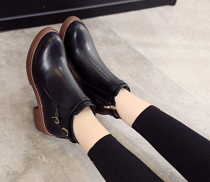 HUANQIU Patik kadın 2018 sonbahar/kış çizmeler yuvarlak Ayak düşük topuk kemer toka yan fermuar Avrupa kadın botları ZLL588
