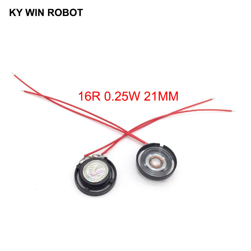 2pcs/lot New Ultra-thin Toy-car Horn 16 Ohms 0.25 Watt 0.25W 16R Speaker Diameter 21MM 2.1CM With Wire