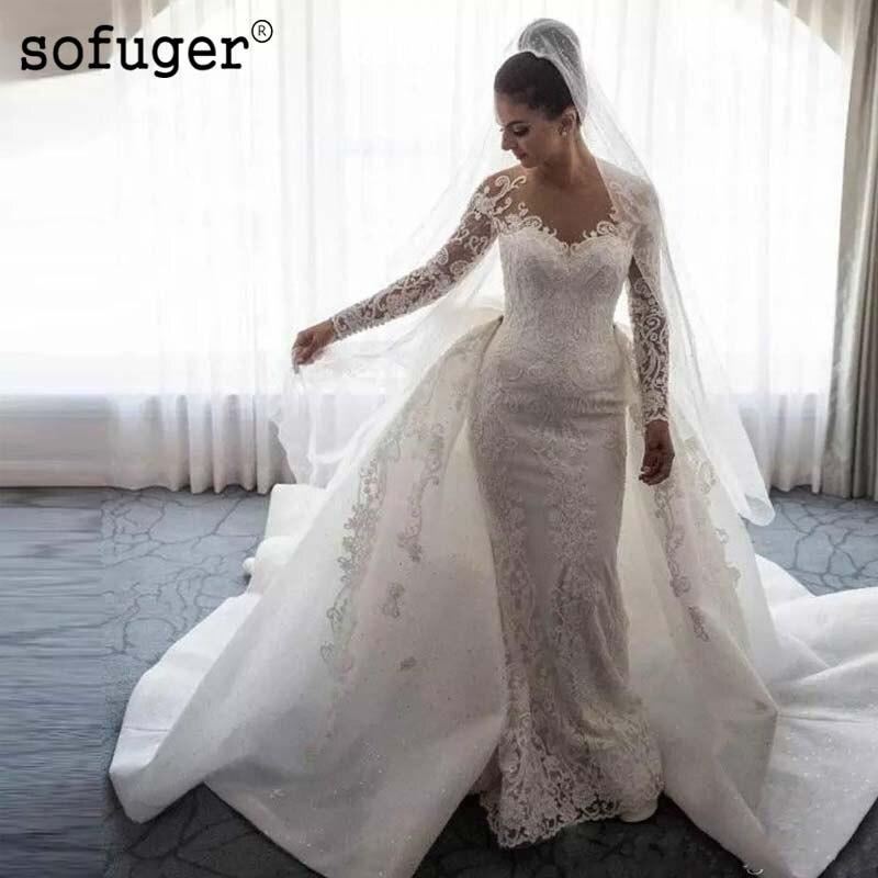 Appliques musulmanes une ligne Train grand arc robe De mariée mariées robes De mariée Vestido De Noiva sur mesure