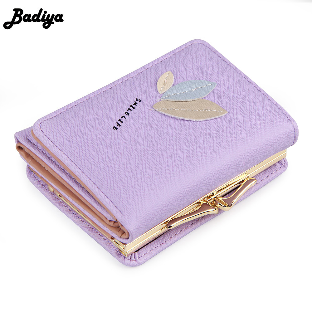 New 3-Fold Leaves Short Wallet For Women PU Leather Card Holder Coin Purse With Photo Slot Fashion Design Change Wallets youyou mouse fashion cute wallet cartoon embroidery pattern retro purse short section pu leather 2 fold multi card bit wallets