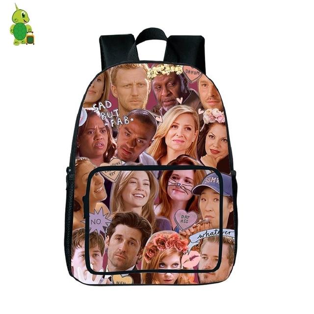 Tv Show Greys Anatomy Overlay Printing Backpack For Teenagers Boys