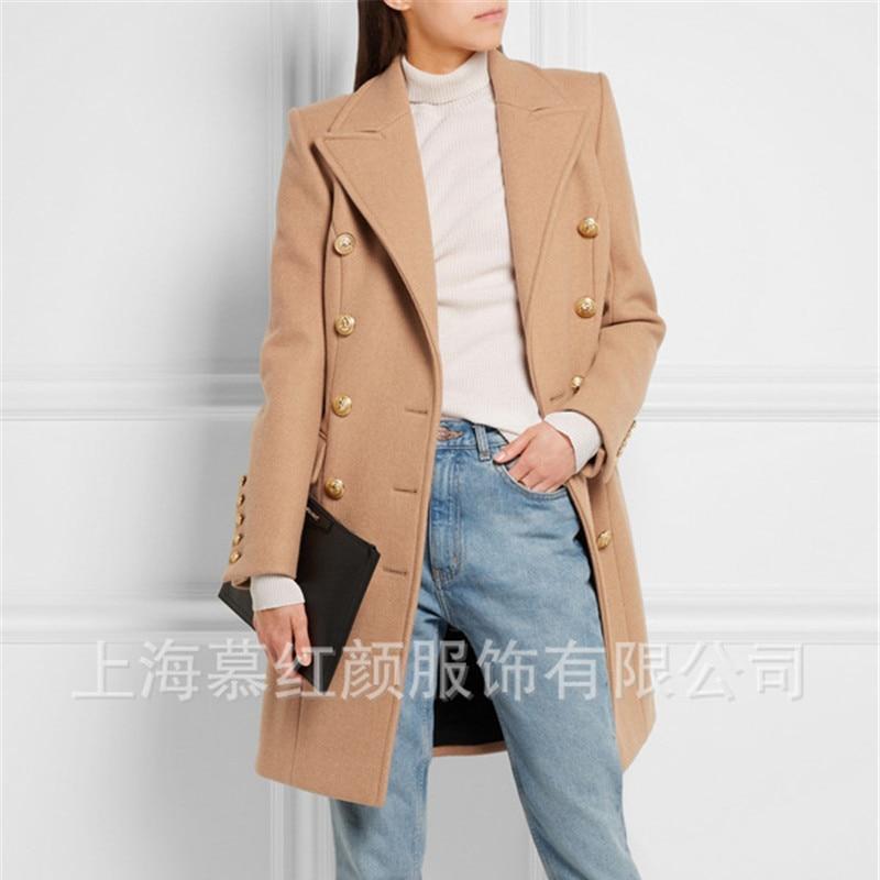 Femmes Ol Élégant De Outwear Vintage Mode D'hiver Nouveau Plus Vêtements Long Manteau Laine 2018 rcW6frZ