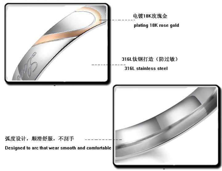 AENINE à la mode en acier inoxydable argent demi-coeur Simple cercle réel amour Couple anneaux bijoux bague de fiançailles pour les femmes AOGJ284