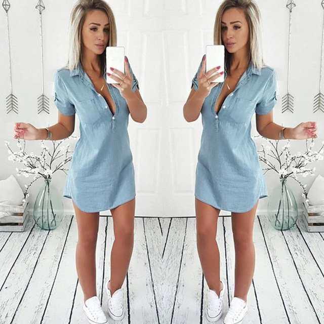 f192070bfe241 KANCOOLD dress new high quality fashion Summer Short Sleeve Solid Denim  Dress Turn Down Collar Mini dress women ap25