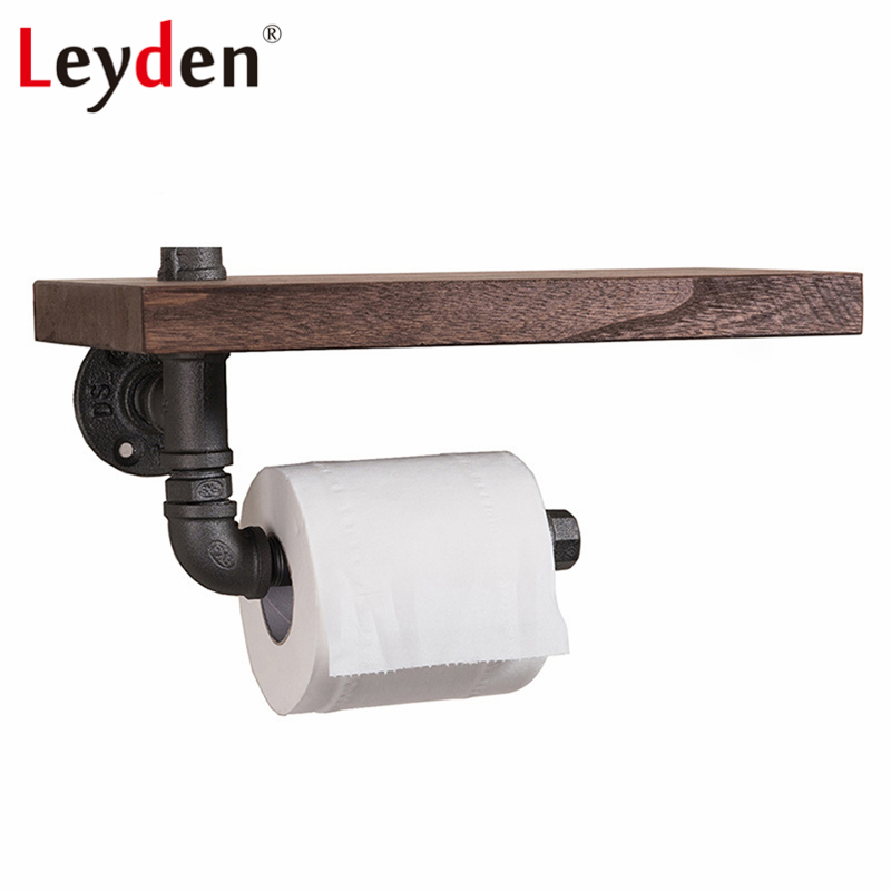Leyden Iron Pipe Toilet Paper Holder Industrial Tissue Hanger With Shelf Wall Mounted Wooden Shelf Home Bathroom Decoration mayitr 1pc iron pipe toilet paper holder wall mounted industrial retro urban style iron pipe toilet paper holder roller 18cm
