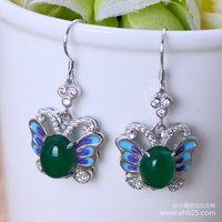 Black silver jewelry wholesale 925 sterling silver jewelry cute female Butterfly Earrings xh051694.