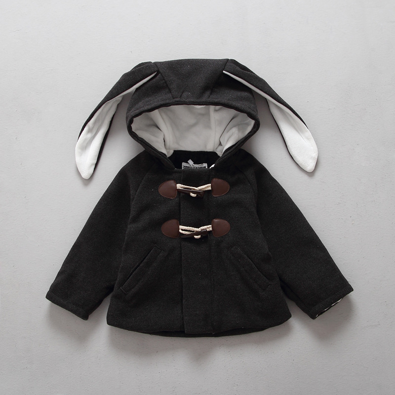 2016 Winter male and female children baby hooded wool long ears rabbit coat for 2-6T