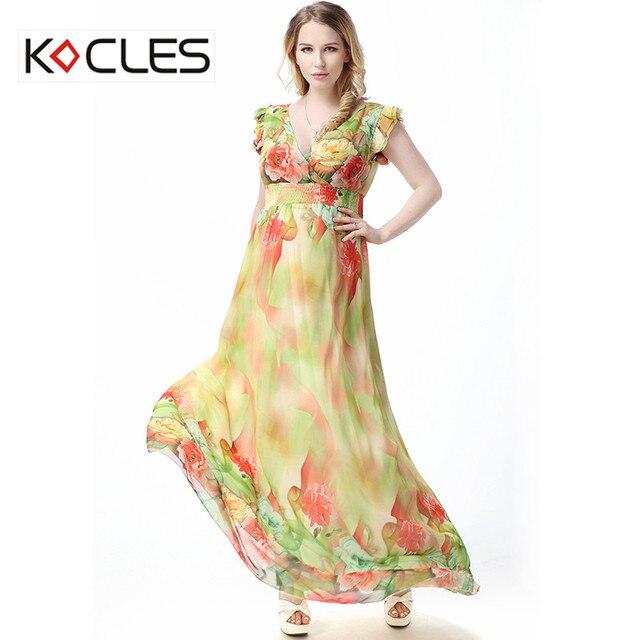 4f906c811e9 New Plus Size 5 6 7XL Women Summer Holiday Elegant Modest Maxi Tunic  Chiffon Flower Floral Print V Neck Party Boho Beach Dress