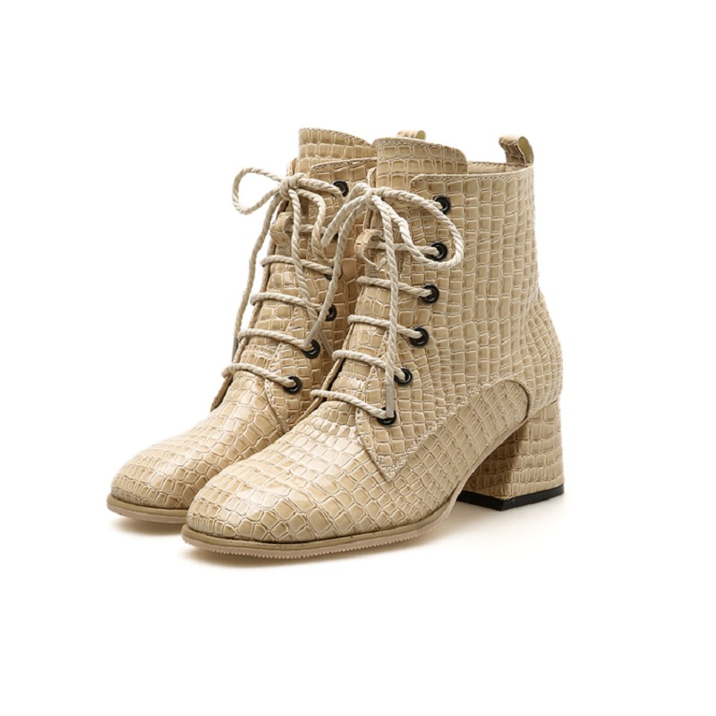 2018 Winter Serpentine Martin Boots Cross Tie Round Head with Womens Booties beige 01212018 Winter Serpentine Martin Boots Cross Tie Round Head with Womens Booties beige 0121