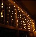 Hermosa 3.5 M 96 unids Bolas Led Cadena Luz de Hadas DEL LED Cadena de Cortina de Lámpara de carámbano de luz Para La Boda de Navidad Ventana decoración