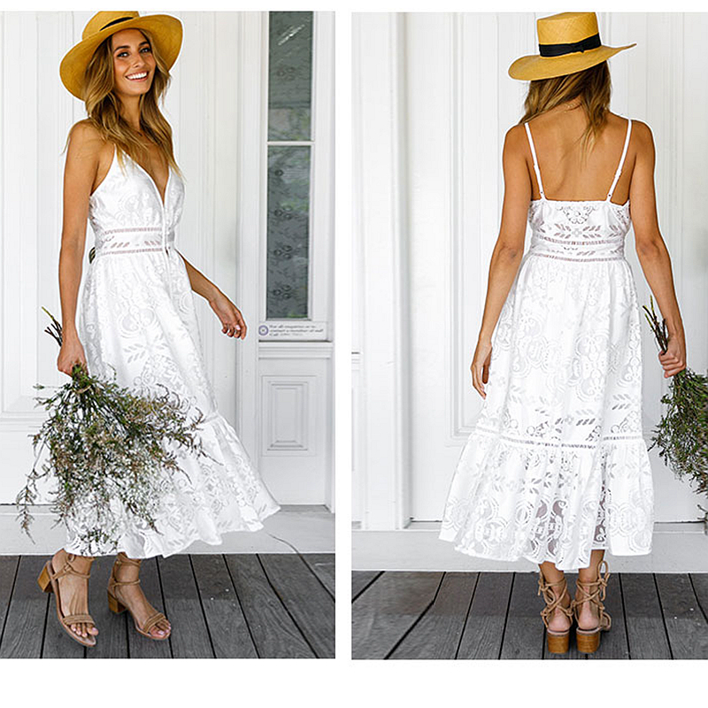 106f5dd4e0e Boho Women White Guipure Lace Dresses Backless Summer Midi Dress 2018  Hollow Out Long Gypsy Spaghetti Strap Vestidos