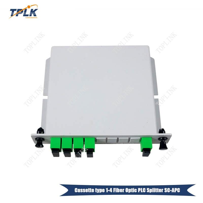 Free shipping 10pcs lot 1X4 SC APC Inserted PLC Fiber Optical Splitter cassette type 1X4 fiber